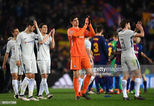 Thibaut Courtois of Chelsea shows appreciation to the fans after the UEFA Champions League Round of 16 Second Leg match FC Barcelona and Chelsea FC...
