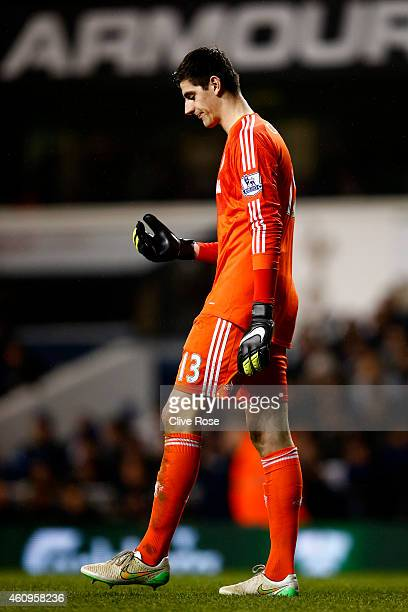 Thibaut Courtois of Chelsea shows his dejection during the Barclays Premier League match between Tottenham Hotspur and Chelsea at White Hart Lane on...
