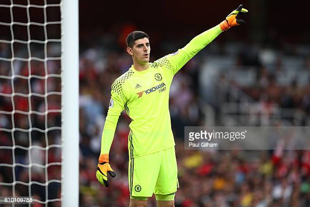 Thibaut Courtois of Chelsea signals during the Premier League match between Arsenal and Chelsea at the Emirates Stadium on September 24 2016 in...