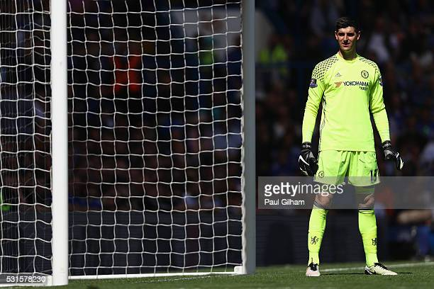 Thibaut Courtois of Chelsea stands in front of the goal during the Barclays Premier League match between Chelsea and Leicester City at Stamford...