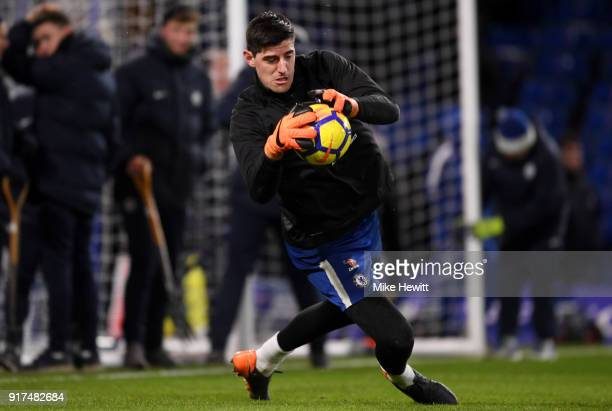Thibaut Courtois of Chelsea warms up prior to the Premier League match between Chelsea and West Bromwich Albion at Stamford Bridge on February 12...