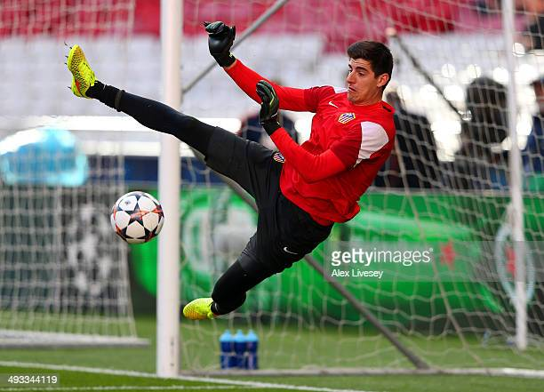 Thibaut Courtois of Club Atletico de Madrid makes a save during a Club Atletico de Madrid training session ahead of the UEFA Champions League Final...
