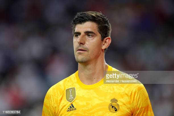 Thibaut Courtois of Real looks on during the International Champions Cup match between Bayern Muenchen and Real Madrid in the 2019 International...
