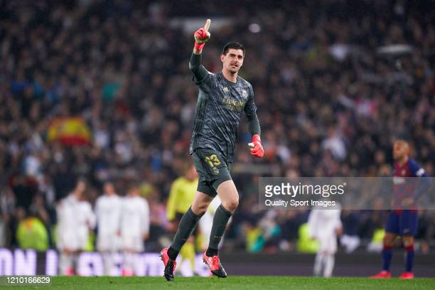 Thibaut Courtois of Real Madrid celebrates during the La Liga match between Real Madrid CF and FC Barcelona at Estadio Santiago Bernabeu on March 01,...
