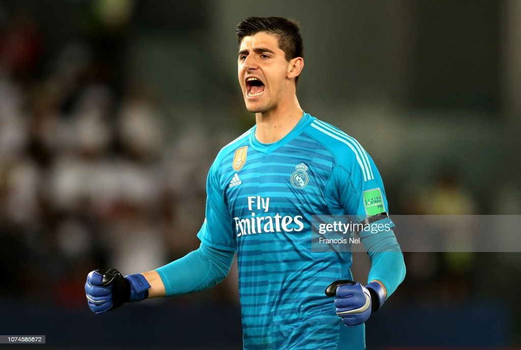 Thibaut Courtois Of Real Madrid Celebrates His Sides First