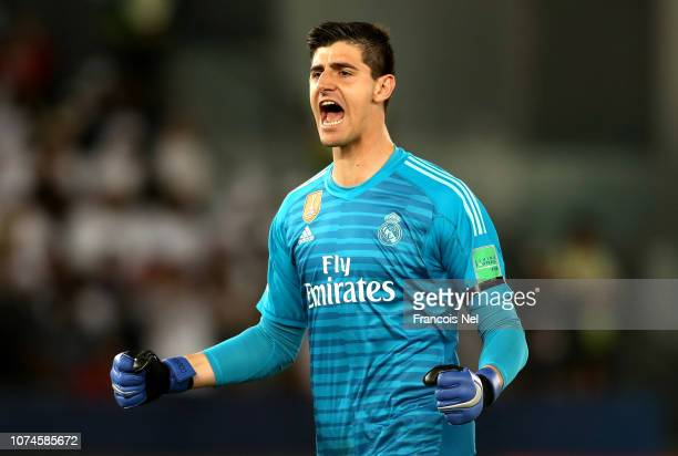 Thibaut Courtois of Real Madrid celebrates his sides first goal during the FIFA Club World Cup UAE 2018 Final between Al Ain and Real Madrid at the...