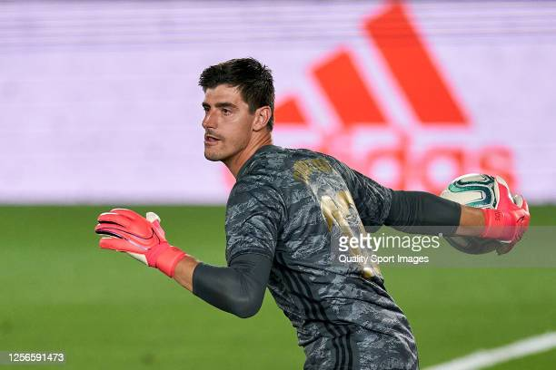 Thibaut Courtois of Real Madrid CF in action during the La Liga match between Real Madrid CF and Villarreal CF at Estadio Alfredo Di Stefano on July...