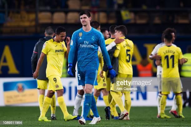 Thibaut Courtois of Real Madrid CF looks dejected after the La Liga match between Villarreal CF and Real Madrid CF at Estadio de la Ceramica on...