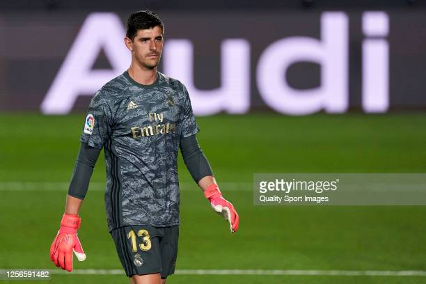 Thibaut Courtois of Real Madrid CF looks on during the La Liga match between Real Madrid CF and Villarreal CF at Estadio Alfredo Di Stefano on July...