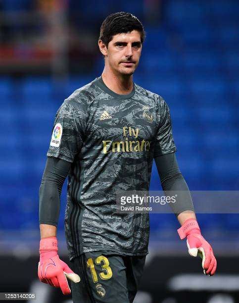 Thibaut Courtois of Real Madrid CF looks on during the Liga match between RCD Espanyol and Real Madrid CF at RCDE Stadium on June 28, 2020 in...