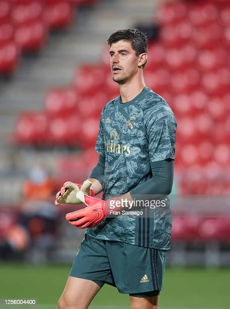 Thibaut Courtois of Real Madrid CF looks on during the Liga match between Granada CF and Real Madrid CF at on July 13 2020 in Granada Spain Football...