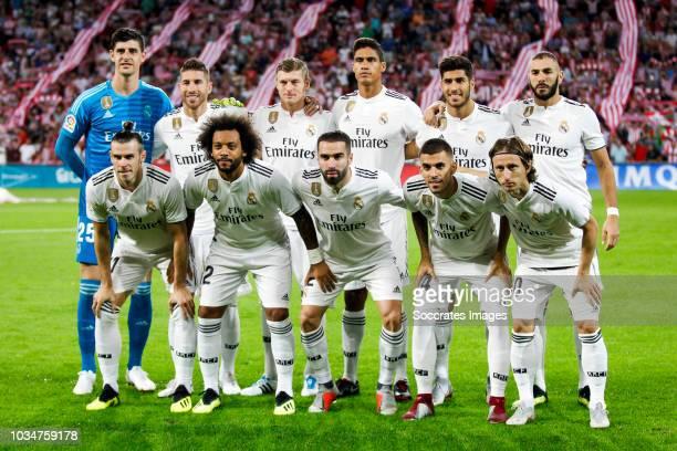 Thibaut Courtois of Real Madrid CF Sergio Ramos Garcia of Real Madrid CF Toni Kroos of Real Madrid CF Raphael Varane of Real Madrid CF Marco Asensio...