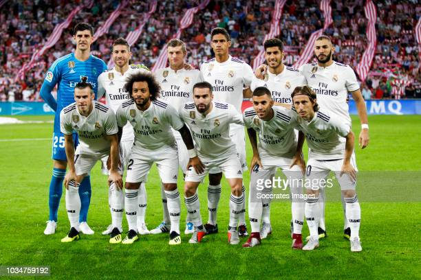 Thibaut Courtois of Real Madrid CF Sergio Ramos Garcia of Real Madrid CF Toni Kroos of Real Madrid CF Raphael Varane of Real Madrid CF Marco Asensio...