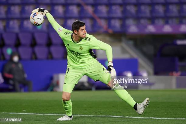Thibaut Courtois of Real Madrid does passed during the La Liga Santander match between Real Valladolid CF and Real Madrid at Estadio Municipal Jose...