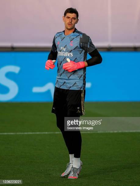 Thibaut Courtois of Real Madrid during the La Liga Santander match between Real Madrid v Deportivo Alaves at the Stadium Ciudad Deportiva Real Madrid...