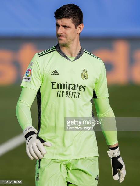 Thibaut Courtois of Real Madrid during the La Liga Santander match between Real Madrid v Valencia at the Estadio Alfredo Di Stefano on February 14,...