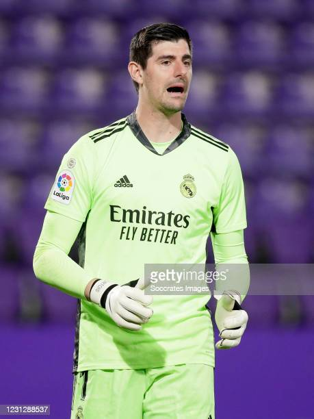 Thibaut Courtois of Real Madrid during the La Liga Santander match between Real Valladolid v Real Madrid at the Estadio Nuevo Jose Zorrilla on...