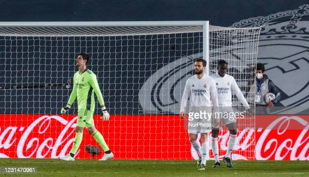Thibaut Courtois of Real Madrid during the Spanish Liga Santander match between Real Madrid and Real Sociedad at Estadio Alfredo Di Stefano in...
