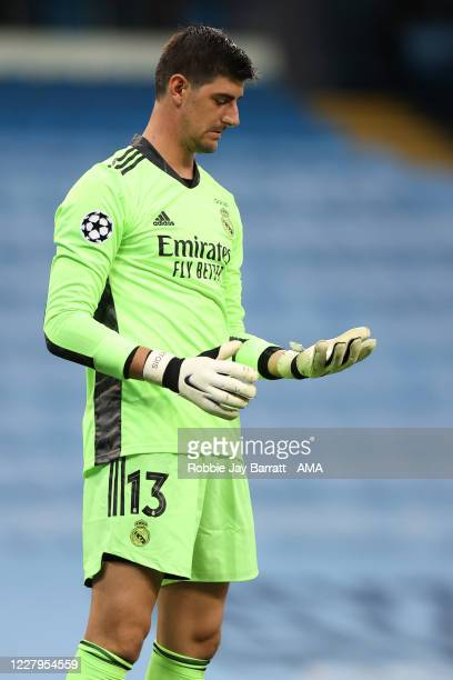 Thibaut Courtois of Real Madrid during the UEFA Champions League round of 16 second leg match between Manchester City and Real Madrid at Etihad...