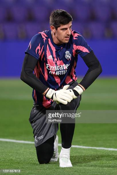 Thibaut Courtois of Real Madrid during the warm-up before the La Liga Santander match between Real Valladolid CF and Real Madrid at Estadio Municipal...