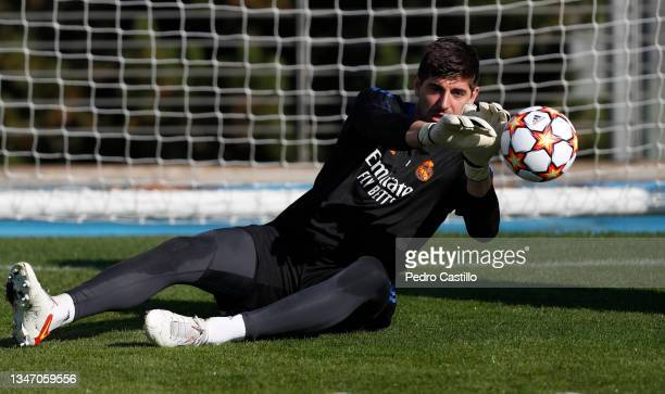 Thibaut Courtois of Real Madrid during training at Valdebebas training ground on October 17, 2021 in Madrid, Spain.
