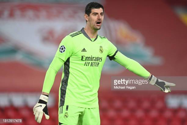 Thibaut Courtois of Real Madrid gives instructions during the UEFA Champions League Quarter Final Second Leg match between Liverpool FC and Real...