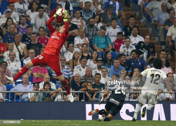 Thibaut Courtois of Real Madrid in action during the La Liga match between Real Madrid and CD Leganes at Estadio Santiago Bernabeu on September 1...