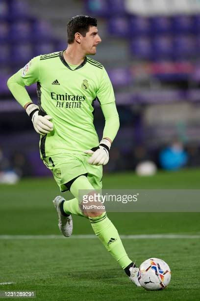 Thibaut Courtois of Real Madrid in action during the La Liga Santander match between Real Valladolid CF and Real Madrid at Estadio Municipal Jose...