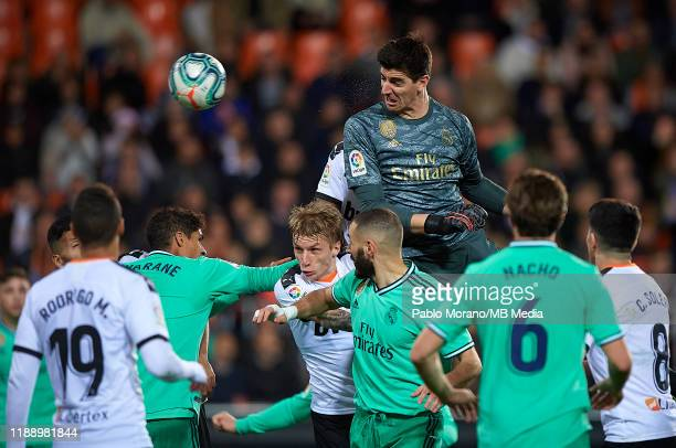 Thibaut Courtois of Real Madrid in action during the Liga match between Valencia CF and Real Madrid CF at Estadio Mestalla on December 15 2019 in...