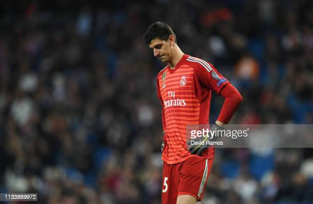 Thibaut Courtois of Real Madrid looks dejected during the UEFA Champions League Round of 16 Second Leg match between Real Madrid and Ajax at Bernabeu...
