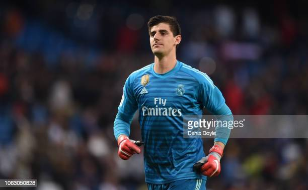 Thibaut Courtois of Real Madrid looks on at the end of the La Liga match between Real Madrid CF and Real Valladolid CF at Estadio Santiago Bernabeu...