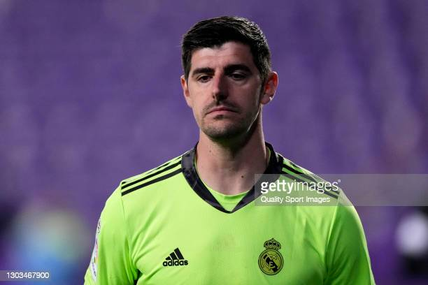 Thibaut Courtois of Real Madrid looks on during the La Liga Santander match between Real Valladolid CF and Real Madrid at Estadio Municipal Jose...