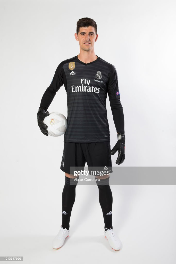 Thibaut Courtois of Real Madrid poses during his official presentation at Estadio Santiago Bernabeu on August 9, 2018 in Madrid, Spain.