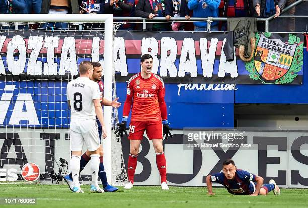 Thibaut Courtois of Real Madrid reacts during the La Liga match between SD Eibar and Real Madrid CF at Ipurua Municipal Stadium on November 24 2018...