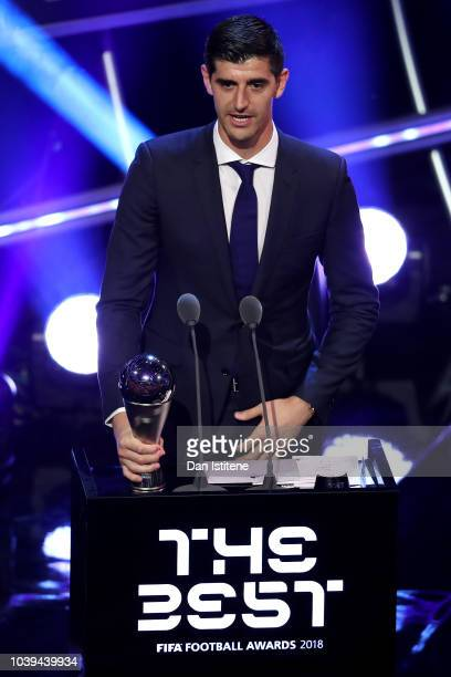 Thibaut Courtois of Real Madrid receives the trophy for The Best FIFA Goalkeeper 2018 during the The Best FIFA Football Awards Show at Royal Festival...