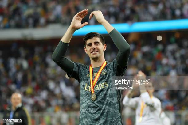 Thibaut Courtois of Real Madrid shows his appreciation to the fans after his teams victory in the Supercopa de Espana Final match between Real Madrid...