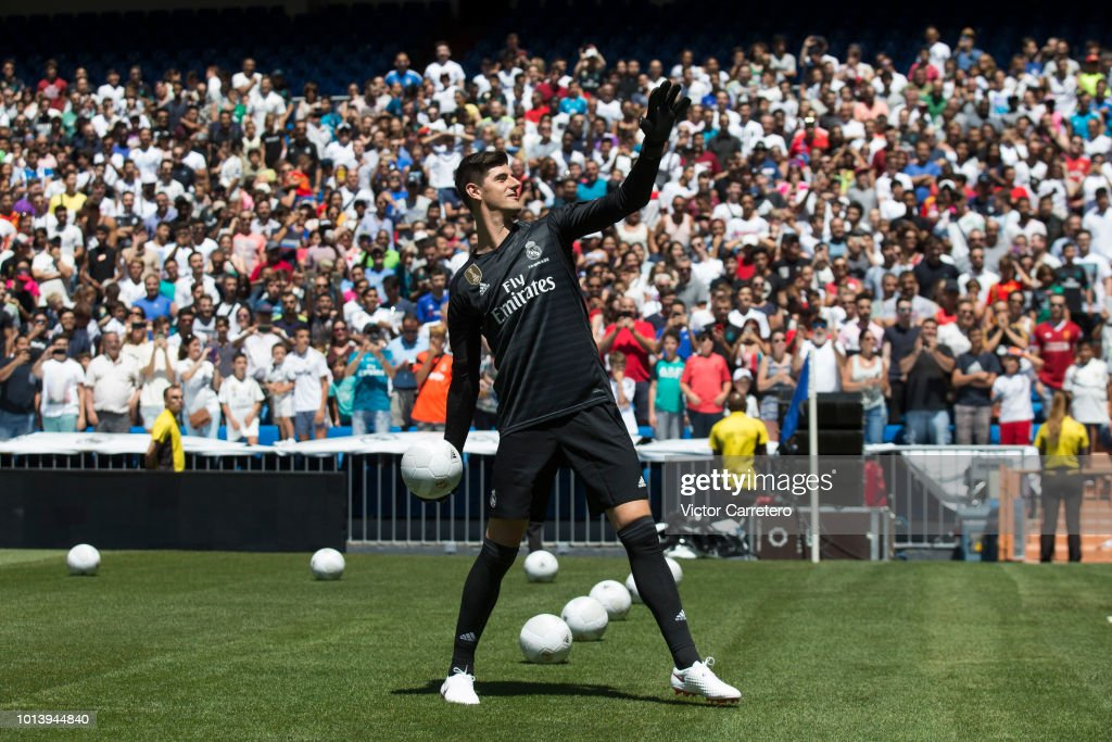 Thibaut Courtois of Real Madrid throws a ball during his official presentation at Estadio Santiago Bernabeu on August 9, 2018 in Madrid, Spain.