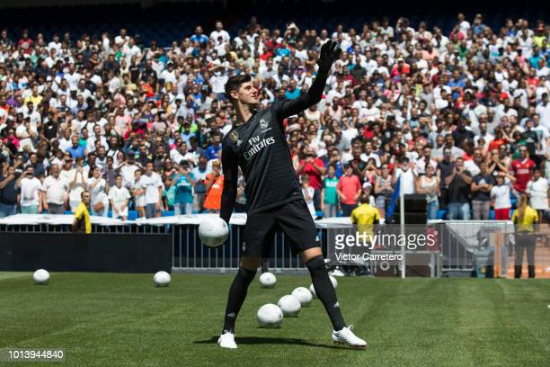 Thibaut Courtois of Real Madrid throws a ball during his official presentation at Estadio Santiago Bernabeu on August 9 2018 in Madrid Spain