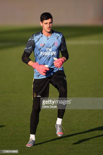 Thibaut Courtois of Real Madrid warms up before the Liga match between Real Madrid CF and Villarreal CF at Estadio Alfredo Di Stefano on July 16 2020...