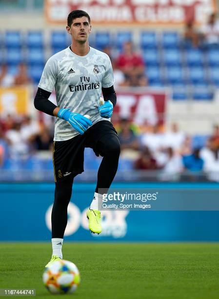 Thibaut Courtois of Real Madrid warms up prior to the preseason friendly match between AS Roma and Real Madrid at Stadio Olimpico on August 11 2019...