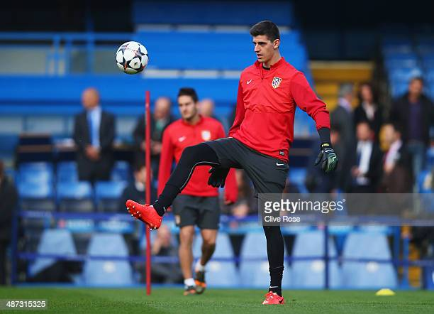 Thibaut Courtois the Club Atletico de Madrid goalkeeper trains at the Atletico Madrid training session at Stamford Bridge on April 29 2014 in London...