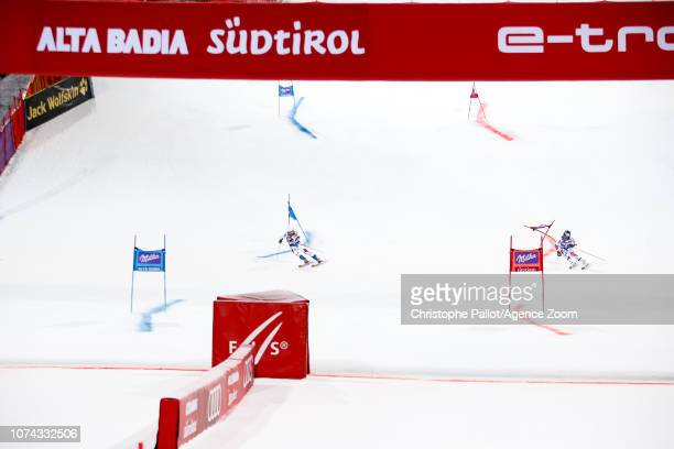 Thibaut Favrot of France, Alexis Pinturault of France compete during the Audi FIS Alpine Ski World Cup Men's Parallel Giant Slalom on December 17,...