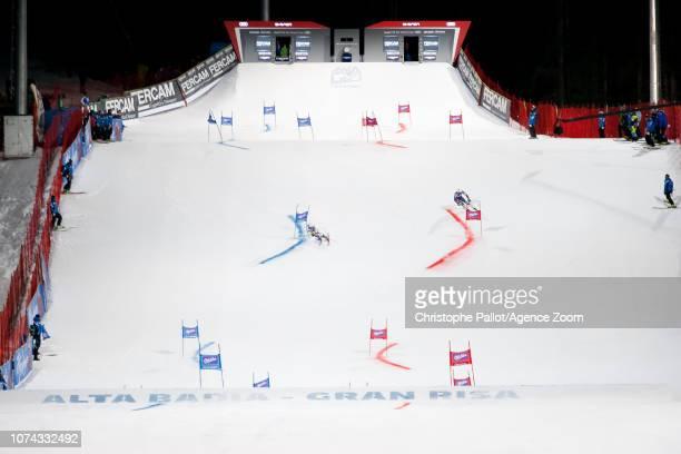Thibaut Favrot of France Henrik Kristoffersen of Norway compete during the Audi FIS Alpine Ski World Cup Men's Parallel Giant Slalom on December 17...