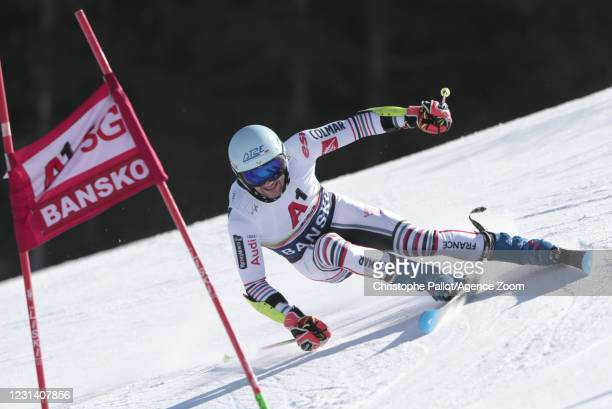 Thibaut Favrot of France in action during the Audi FIS Alpine Ski World Cup Men's Giant Slalom on February 27, 2021 in Bansko Bulgaria.