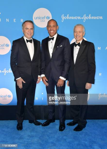 Thibaut Mongon Michael Sneed and Joaquin Duato at the 15th Annual UNICEF Snowflake Ball 2019 at 60 Wall Street Atrium on December 03 2019 in New York...