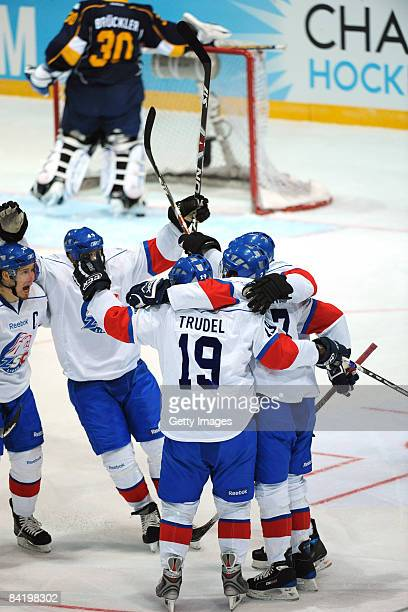 Thibaut Monnet ZSC celebrates after first goal during the IIHF Champions Hockey League semi-final match between Espoo Blues and ZSC Lions Zurich at...