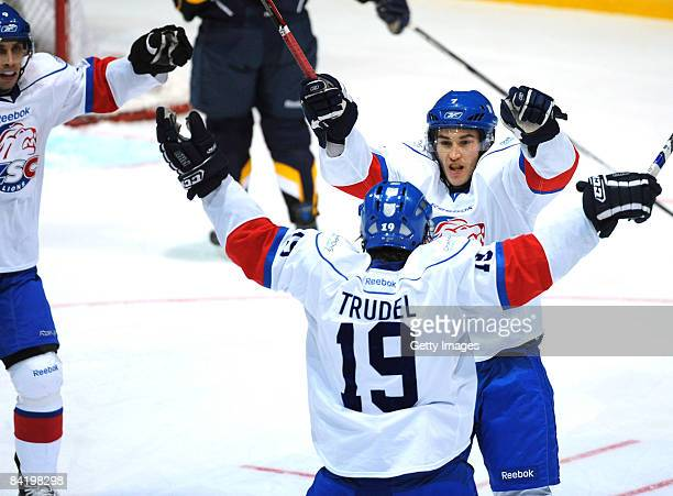 Thibaut Monnet ZSC celebrates after the first goal during the IIHF Champions Hockey League semi-final match between Espoo Blues and ZSC Lions Zurich...