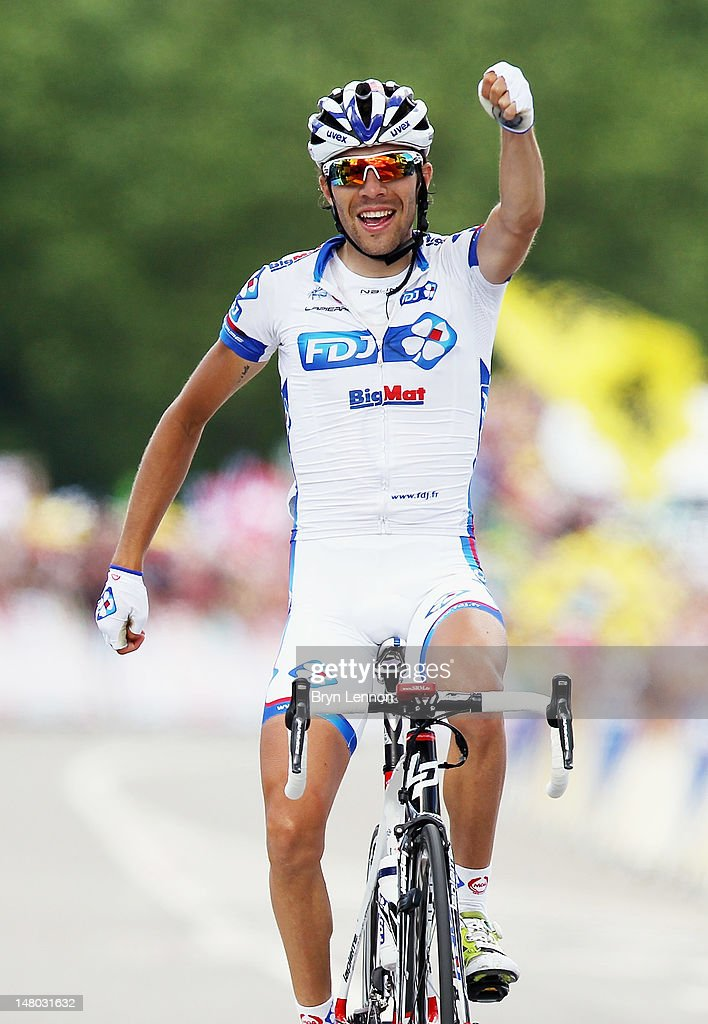 Thibaut Pinot of France and FDJ Bigmat celebrates as he crosses the finish line to win stage eight of the 2012 Tour de France from Belfort to Porrentruy on July 8, 2012 in Porrentruy, Switzerland.