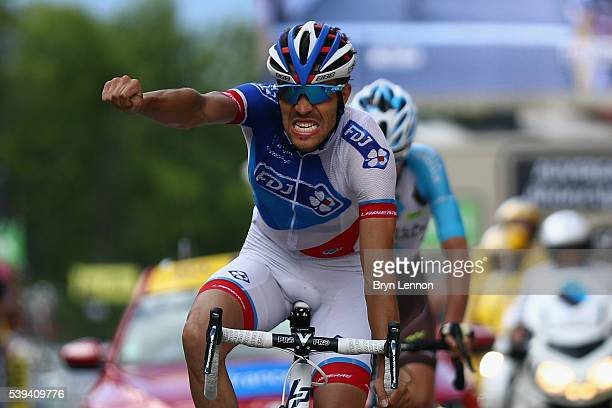 Thibaut Pinot of France and FDJ celebrates winning stage six of the 2016 Criterium du Dauphine, a 141km stage from La Rochette to Meribel, on June...