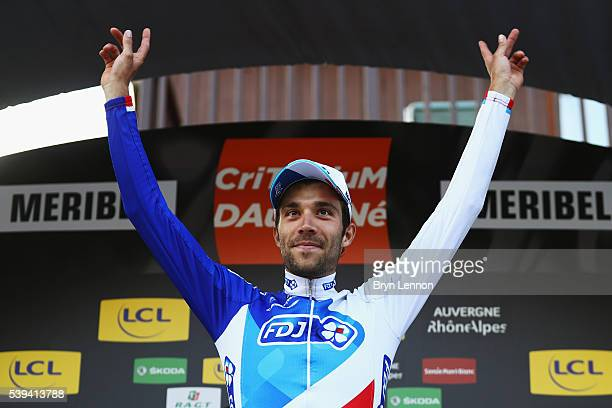 Thibaut Pinot of France and FDJ celebrates winning stage six of the 2016 Criterium du Dauphine a 141km stage from La Rochette to Meribel on June 11...